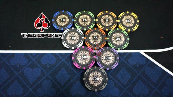 Bộ chip poker crown đầy đủ mệnh giá chip poker từ 1 đếm 10000